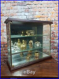 Superb Vintage Miniature Wood & Glass Curio Display Cabinet Shelf Case