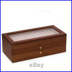 Three Level Cherry Wood 36 Pen Storage Case With Glass Top