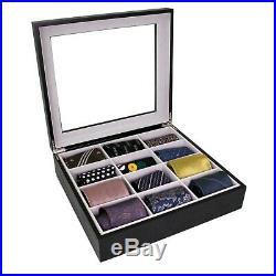 Tie Box Belt Jewelry Case Organizer in Wood Glass Lid Valet