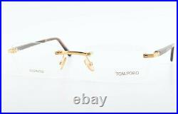Tom Ford Glasses Tf 80 E69 54 20 140 Gold Plated Wood Brown Rimless Frame +Case