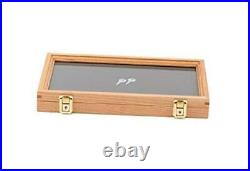 Two Timbers Medium Display Case with Oak Finish Handmade Wood Box with Glass