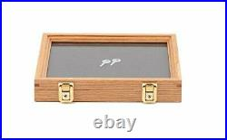 Two Timbers Small Display Case with Oak Finish Handmade Wood Box with Glass