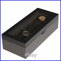 Two-Toned Herringbone and Solid Wood Watch Box Organizer Case with Glass Black