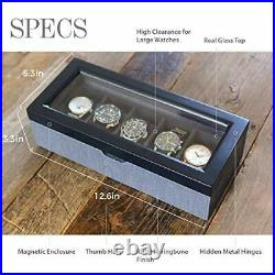 Two-Toned Herringbone and Solid Wood Watch Box Organizer Case with Glass Display