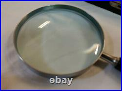 USA ATCO 4 Metal and wood Hand Magnifying Glass Lens Black Kinsman Fitted Case