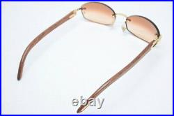 Used Cartier 140B Wood 18 Glasses Temple Sunglasses With Case H3.0cm X W5.5cm