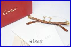 Used Cartier Wood Frame Glasses C Decor Brown Color With Case Very Rare