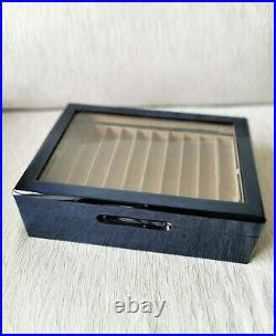 Venlo Company 20 Pen Case Wood Veneer with Glass Top NEW