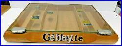 Vintage 1950s Gillette Razor, Wood & Glass Store Display Case, Nice Ad Piece