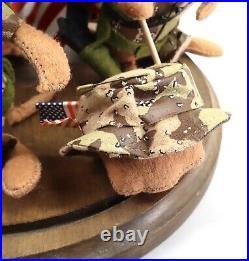 Vintage Annalee Desert Storm Soldiers Mice 1991 Glass Wood Cloche Display Case