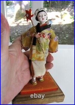 Vintage Asian Doll Plus Baby Glass Eyes Hand Painted Silk Kimono Wood Glass Case