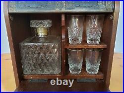 Vintage Decanter Six Piece Decanter Set Case Decanter Four Shot Glasses MCM