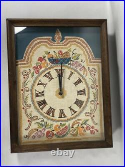 Vintage Handmade Fruit Needlepoint Wood Glass Shadow Case Box Wall Clock Shadow