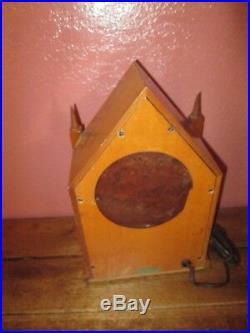 Vintage Herschede Strike Mantel Clock Wood Casing Glass Picture of Building