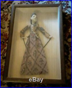Vintage Japanese Asian Wayang Golek Stick Puppet In Wood & Glass Display Case