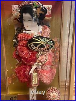 Vintage Japanese Geisha Doll in Glass and Wood Display Case