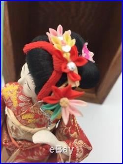 Vintage Japanese Geisha Doll in Silk Brocade Kimono with Glass & Oak Wood Case