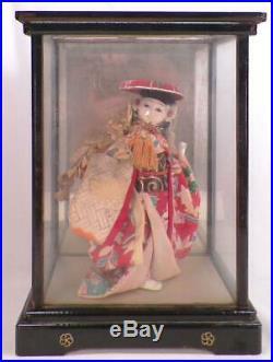 Vintage Japanese Geisha Girl Gofun Paste Silk Kimono in Wood Glass Case
