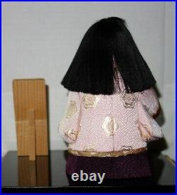 Vintage Japanese Geisha Porcelain Doll in Wood & Glass Case