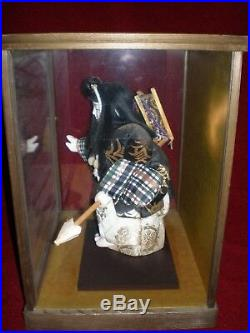 Vintage Japanese Kimekomi Doll Benkei Feudal Monk Wood and Glass Sided Case
