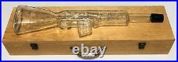 Vintage Large Glass Gun Liquor Bottle in Wood Case Long Rifle