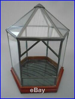 Vintage Large Plant Terrarium Hexagon Display Case Glass Wood Base