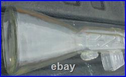 Vintage Large Vodka Glass Liquor Bottle in Wood Case AK-47 Long Rifle Gun