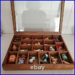 Vintage Lot Figurines in Wood Glass Case Steiff, Calico Critters, Holiday