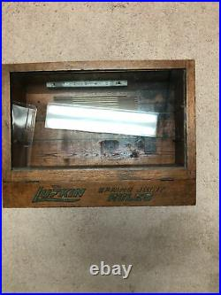 Vintage Lufkin Rules Spring Joint Glass Front Countertop Display Wood Case