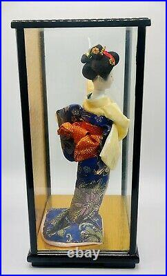 Vintage Porcelain Japanese Geisha Doll 11.5 Tall in Glass Wood Case