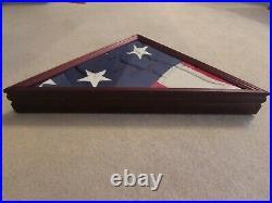 Vintage U. S. Internment Lg Flag Hand Sewn Stars Cherry Wood & Glass Display Case
