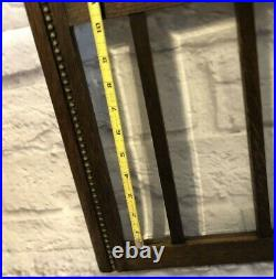 Vintage Wood Glass Clock Case Door Beveled Panels Bubble Glass at Face