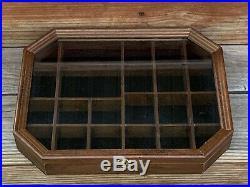 Vintage Wood Shadow Box Hanging Curio Miniature Display Case Glass Door Octagon