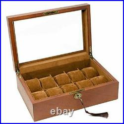 Vintage Wood Watch Display Storage Case Chest with Glass Top Holds 10+