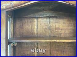 Vintage Wooden Curio Cabinet Walll Hanging or Free Standing Handcrafted 3 Shelf