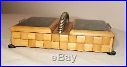 Vintage handmade wood sterling glass Folk Art smoking cigarette box case caddy