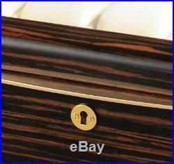 Volta High Gloss Ebony Wood Finish 8 Watch Box Storage Case Glass Top New