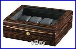 Volta High Gloss Ebony Wood Finish 8 Watch Box Storage Display Case Glass Top