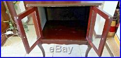 Vtg Antique Wooden Glass Framed 2 Door Trinket Cabinet On Legs 2' Tall