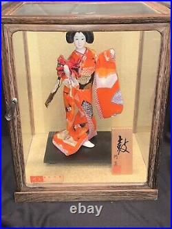 Vtg Japanese Geisha Doll Silk Kimono in a Wood Glass Case