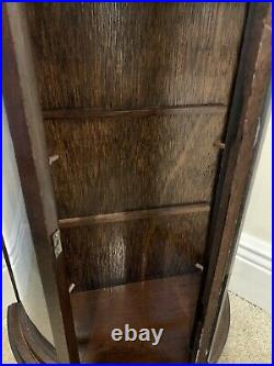 Vtg Small Wood Curio Curved Glass Dark Brown Wall Tabletop Display Case Footed
