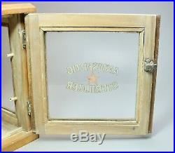 Vtg Wood & Glass Medical Barber Display Case Antiseptic Sterilizer AS IS 12 H