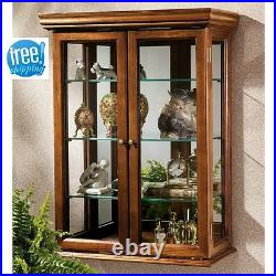 Wall Mount Curio Cabinet Display Glass Shelf Wood Case Mirrored Decor Furniture