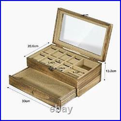 Watch Box Case, 8-Slot Watch Organizer with Jewelry Drawer Carbonized Black