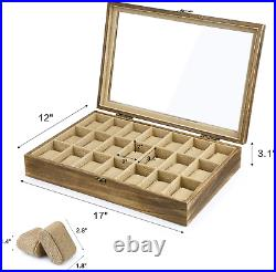 Watch Box Case Organizer Display For Men Women 21 Slot Wood Box With Glass Top New