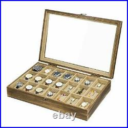 Watch Box Case Organizer Display for Men Women, 21 Slot Wood Box with Glass Top