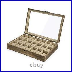 Watch Box Case Organizer Display for Men Women, 21 Slot Wood Carbonized Black