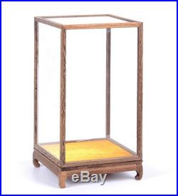 Wenge Wood Antique Jewellery Cover Trim Base Display Case Transparent Glass Doll