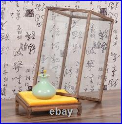 Wenge Wood Trim Base Display Case Transparent Glass Doll Antique Jewellery Cover