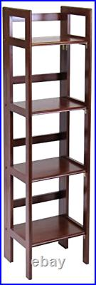 Winsome Wood Folding 4-Tier Folding Narrow Shelf Decor Antique Walnut FInish